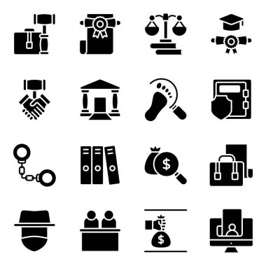 Pack of Law and Justice Solid Icons icon
