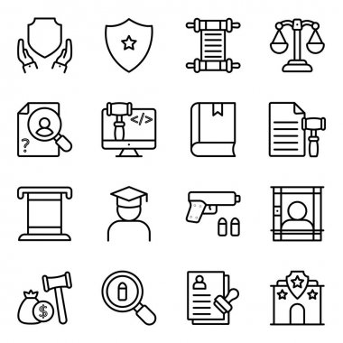 Pack of Law Linear Icons icon