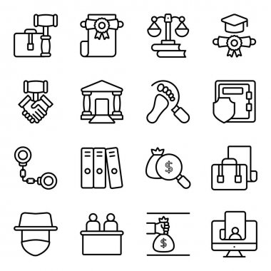 Pack of Law and Justice Linear Icons icon