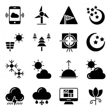 Pack of Weather Forecast Solid Icons icon
