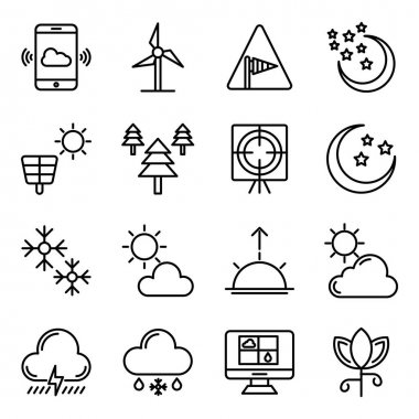 Pack of Weather Forecast Linear Icons icon