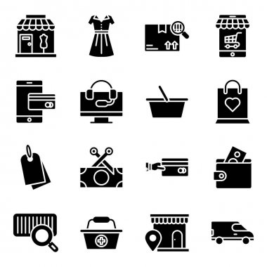 Pack of Shopping Solid Icons icon