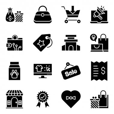 Pack of Shopping and Commerce Solid Icons icon
