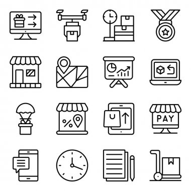 Pack of Shopping and Spending Linear Icons icon