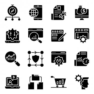 Pack of Search Engine Optimization Solid Icons icon