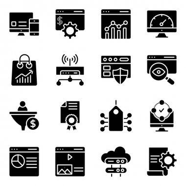 Pack of Seo and Web Solid Icons icon