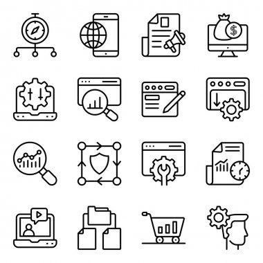 Pack of Search Engine Optimization Linear Icons icon
