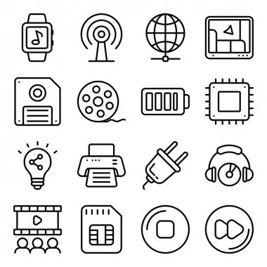 Pack of Web and Networking Linear Icons icon