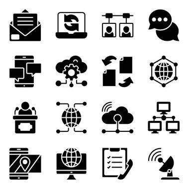 Pack of Cloud, Technology and Networking Solid Icons icon