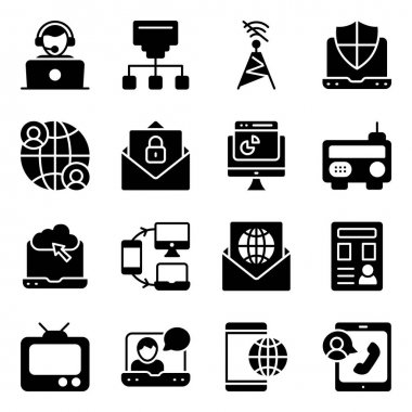 Pack of Communication Media Solid Icons icon