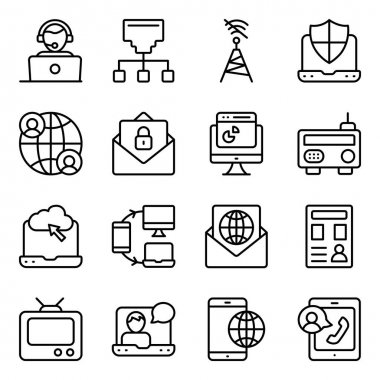 Pack of Communication Media Linear Icons icon