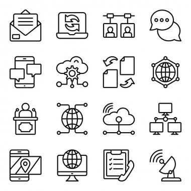 Pack of Cloud, Technology and Networking Linear Icons icon