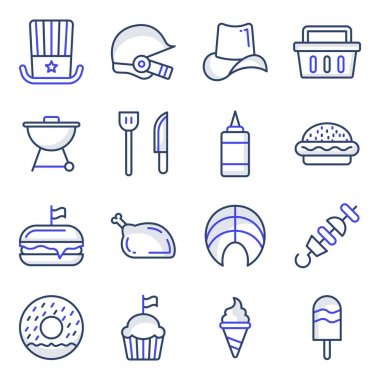 Pack of Independence Day Flat Icons icon