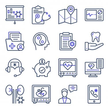 Pack of Medical and Healthcare Flat Icons icon