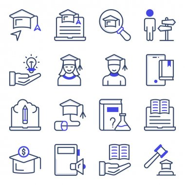 Pack of Study Flat Icons icon