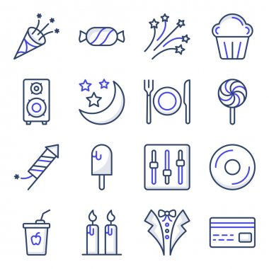 Pack of Party Accessories Flat Icons icon