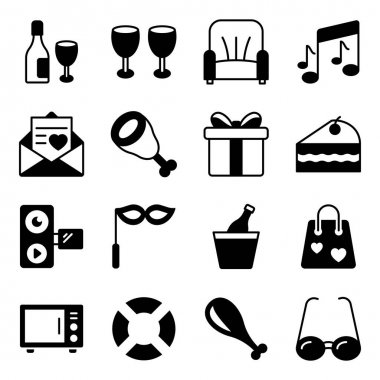 Pack of Party Solid Icons icon