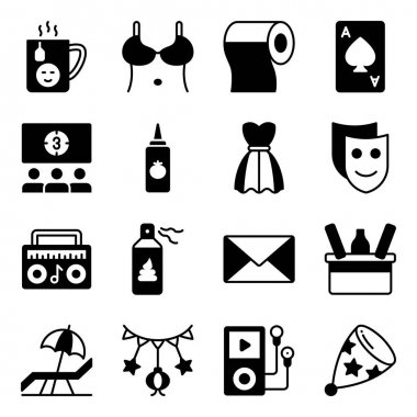 Pack of Party and Celebration Solid Icons icon