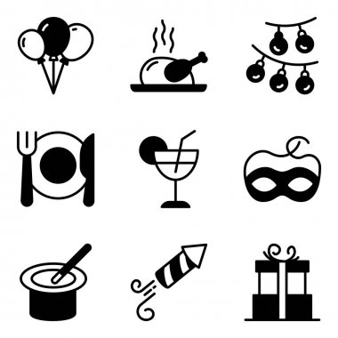Pack of Party and Food Solid Icons icon