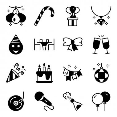 Pack of Party and Decoration Solid Icons icon