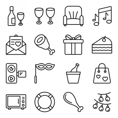 Pack of Party Linear Icons icon