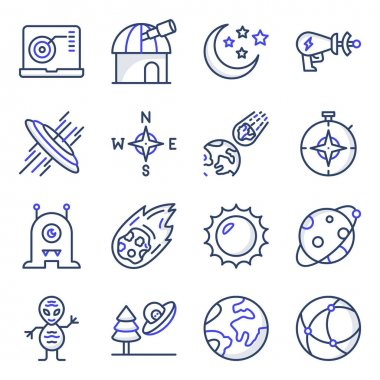 Pack of Astrophysics Flat Icons icon
