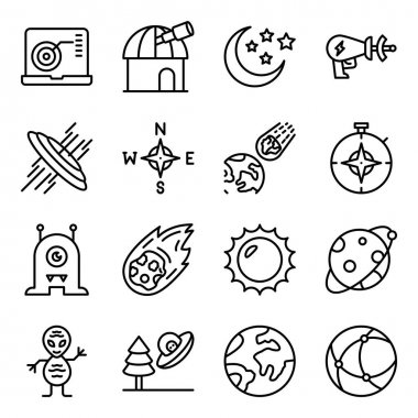 Pack of Astrophysics Linear Icons icon