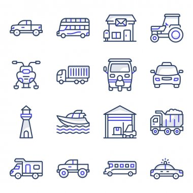 Pack of Transport Flat Icons icon
