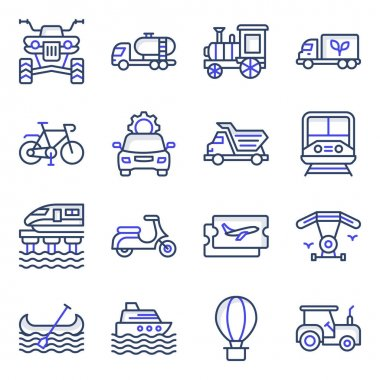 Pack of Travel and Transport Flat Icons icon