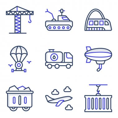 Pack of Transport and Automobile Flat Icons icon