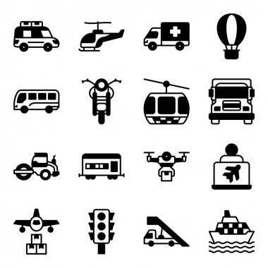 Pack of Automobile Solid Icons icon