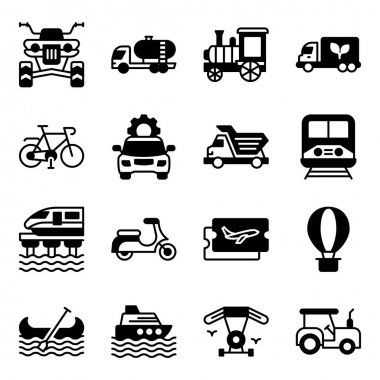 Pack of Travel and Transport Solid Icons icon