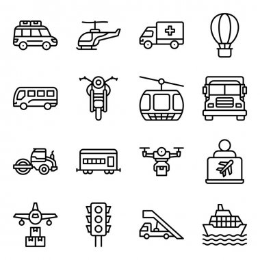 Pack of Automobile Linear Icons icon