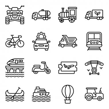 Pack of Travel and Transport Linear Icons icon