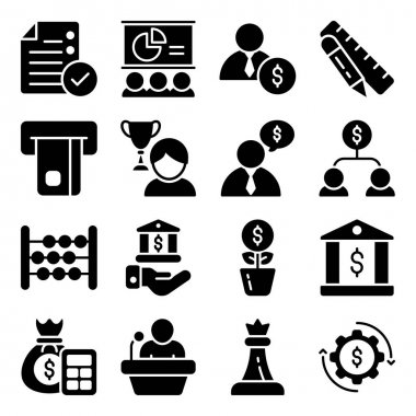 Pack of Business and Ecommerce Glyph Icons icon