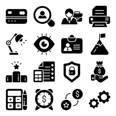 Pack of Financial Business Glyph Icons icon