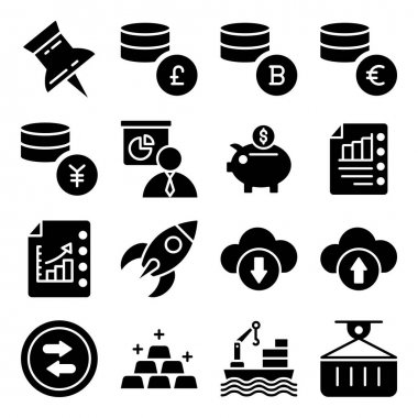 Pack of Financial Business Growth Glyph Icons icon