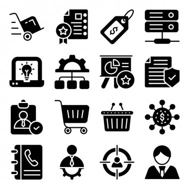Pack of Business Shopping Glyph Icons icon