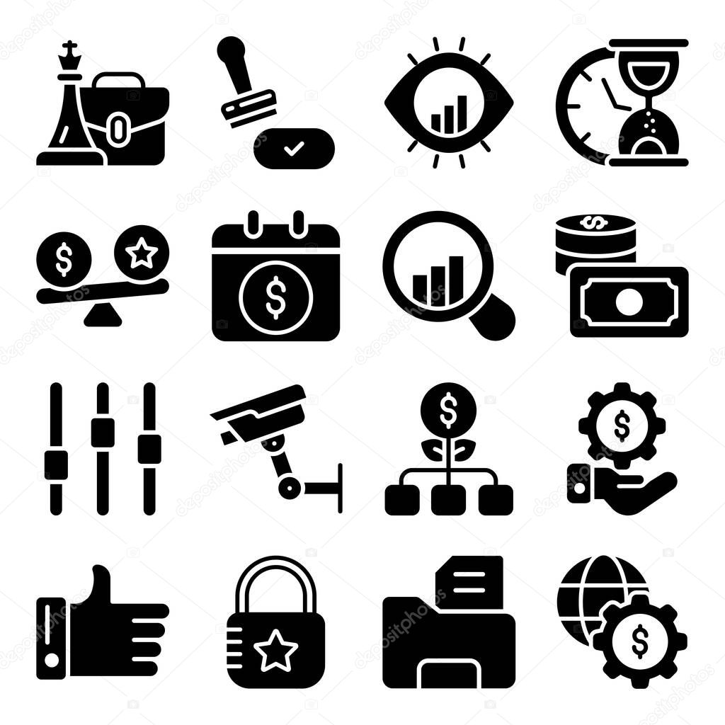 Pack of Business Graphic Glyph Icons icon
