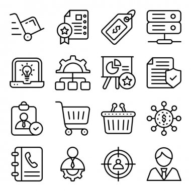 Pack of Business Shopping Linear Icons icon
