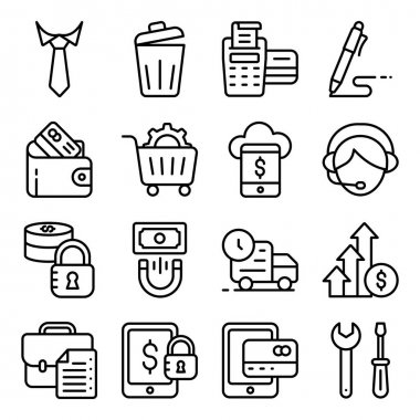 Pack of Business Accessories Linear Icon icon