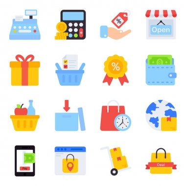 Pack of Buying Flat Icons icon