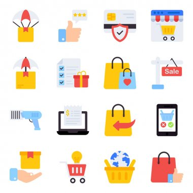 Pack of Purchasing Flat Icons icon