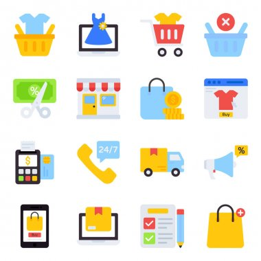 Pack of Shopping Flat Icons icon