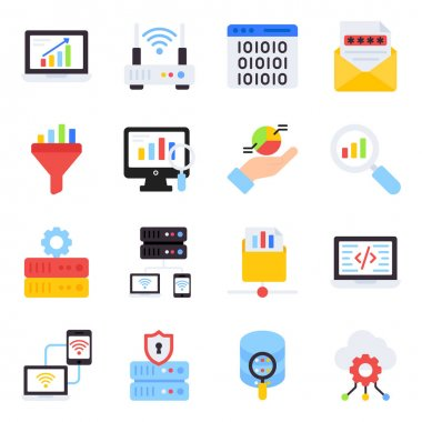 Pack of Graphical Flat Icons icon
