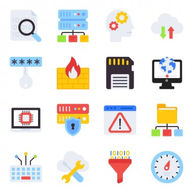Pack of Data Network Flat Icons icon
