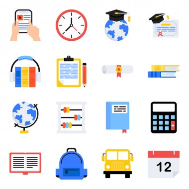 Pack of School and Education Flat Icons icon