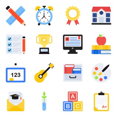 Pack of School Accessories Flat Icons icon