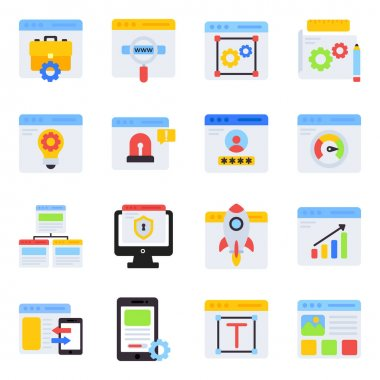 Pack of Web Development Flat Icons icon