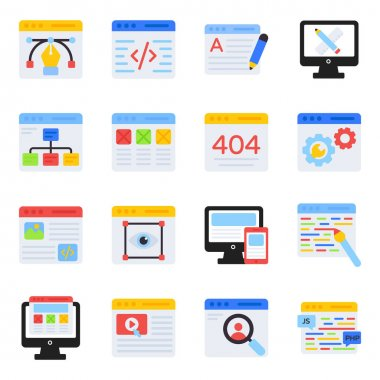 Pack of Web Design Flat Icons icon